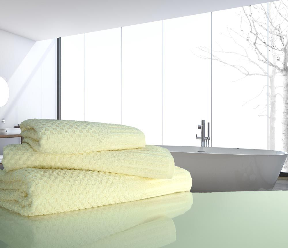 Available in white, linen, coffee, and sage, the Ultra Absorbent Waffle Weave Microfiber Bath Towel is 29 by 55 inches and weighs about 13 ounces. It is 80 percent polyester and 20 percent nylon. Owners say the towel saves space in the washer compared to bulky cotton towels and dries very quickly in .